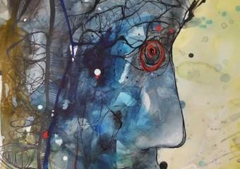 """Facing East"", watercolor & ink/paper,  24 x 18 in. ( 60.9 x 45.7 cm.) 2011"