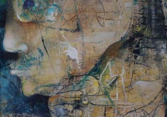 """""""God of the Seas"""", mixed media/canvas, 40 x 30 in. (101.6 x 76.2 cm.) 2003"""