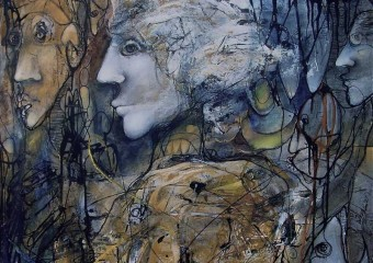 """Atlantica"", mixed media/canvas, 30 x 40 in. (76.2 x 101.6 cm.) 2004"