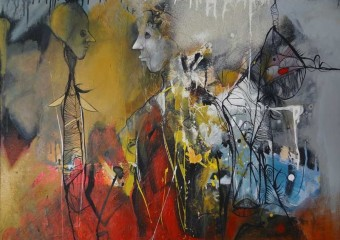 """Several Elements"", mixed media/canvas, 30 x 40 in. (76.2 x 101.6cm.) 2010"